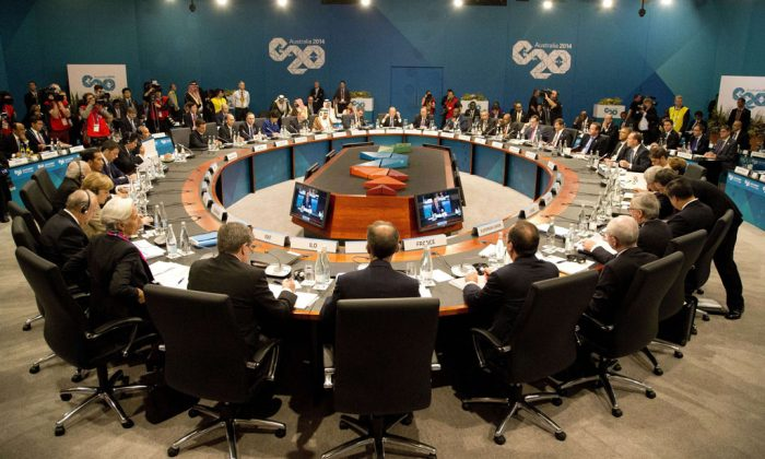 This general view shows leaders attending the start of the plenary session of the G20 Summit in Brisbane on Nov. 15, 2014. Australia is hosting the leaders of the world's 20 biggest economies for the G20 summit in Brisbane on Nov. 15 and 16. (Rob Griffith/AFP/Getty Images)