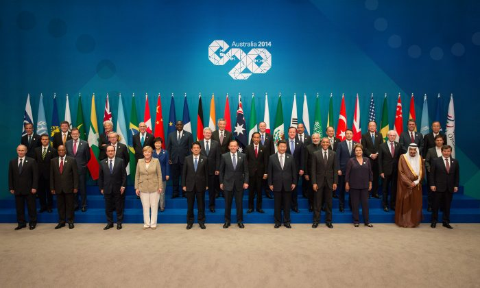 World leaders at the 2014 G20 Summit in in Brisbane, Australia, in this file photo. China will host the 2016 G20 summit in Hangzhou and it looks like the group will avoid the most important topics altogether.  (Andrew Taylor/G20 Australia via Getty Images)
