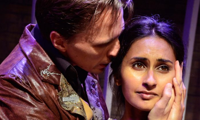 "Despite her love for Mr. Rochester (John Henry Roberts), Jane Eyre (Anu Bhatt) is determined to leave him, in Lifeline Theatre's production of ""Jane Eyre."" (Suzanne Plunkett)"