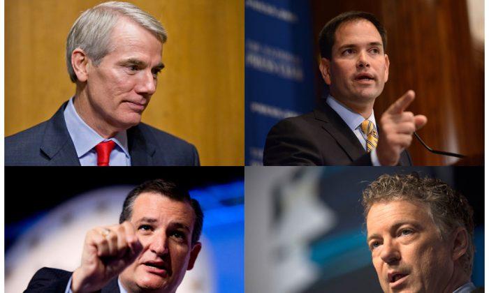 (L-R) Sen. Rob Portman (R-Ohio), Sen. Marco Rubio (R-Fla.), Sen. Ted Cruz (R-Texas), Sen. Rand Paul (R-Ky.). (AP Photo/J. Scott Applewhite/Molly Riley/Manuel Balce Ceneta/Molly Riley)