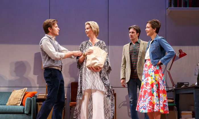 """(L–R) Ewan McGregor, Cynthia Nixon, Josh Hamilton, and Maggie Gyllenhaal, in a scene from Tom Stoppard's play, """"The Real Thing,"""" at the American Airlines Theater. (AP Photo/Roundabout Theatre Company, Joan Marcus)"""