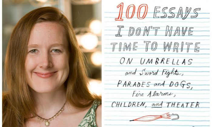 """Right: Pulitzer Prize-nominated playwright Sarah Ruhl. Ruhl's latest play, """"The Oldest Boy,"""" is showing at Lincoln Center and marks the first time she's used puppets in her work. (AP Photo/John D. and Catherine T. MacArthur Foundation) Left: The cover of Sarah Ruhl new book, """"100 Essays I Don't Have Time to Write: On Umbrellas and Sword Fights, Parades and Dogs, Fire Alarms, Children, and Theater."""" (Faber and Faber, Inc.)"""