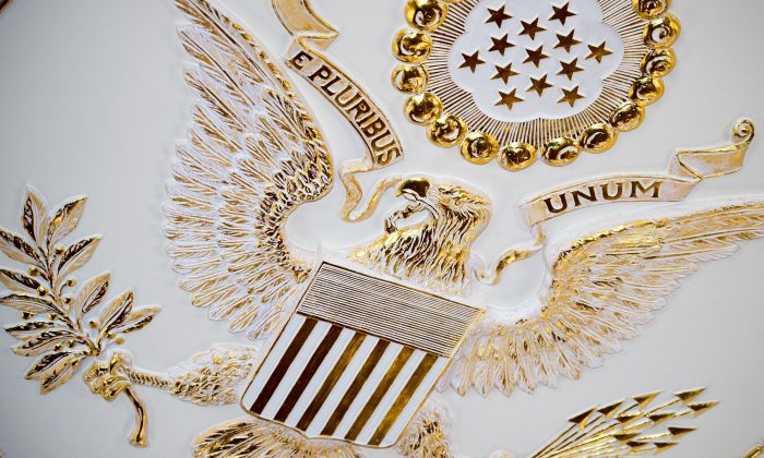 The Great Seal of the United States is seen on the center of the ceiling in the Benjamin Franklin State Dining room at the US Department of State Feburary 7, 2014 in Washington, DC. ( Paul J. Richards/AFP/Getty Images)