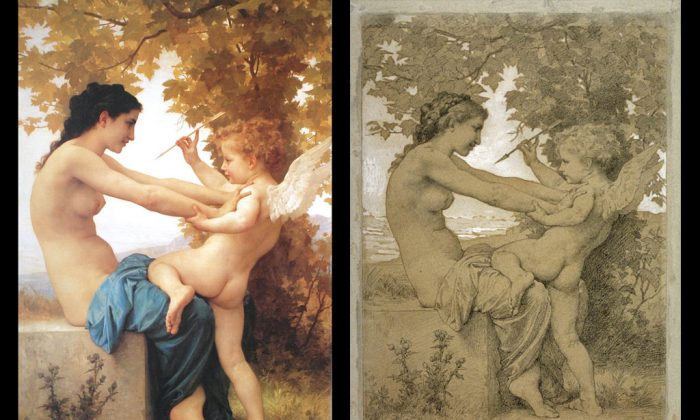 "Left: ""Jeune fille se defendant contre l'amour,"" 1880, by William Bouguereau. Oil on canvas. University of North Carolina at Wilmington. Right: ""Jeune fille se defendant contre l'amour"" (drawing), by William Bouguereau, 13 9/16 x 9 1/4 in Black Chalk and White Gouache on Paper. Legion of Honor, San Francisco, CA. (Courtesy of Art Renewal Center)"