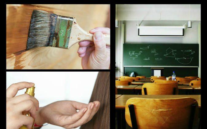 Top left: Varnish (AzmanJaka/iStock/Thinkstock) Bottom left: Hair product (Alexandr Dubovitskiy/iStock/Thinkstock) Right: Classroom (Gloda/iStock/Thinkstock)