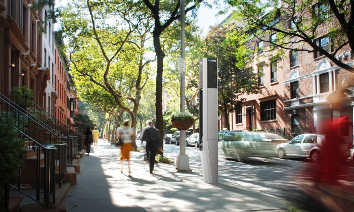 A concept photo of a WiFi kiosk in Brooklyn. (Courtesy of LinkNYC)