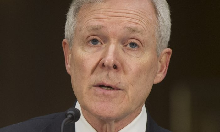 US Secretary of the Navy Ray Mabus testifies on the Defense Authorization Request for the fiscal year 2014 budget during a US Senate Armed Services Committee hearing on Capitol Hill in Washington, DC, on April 25, 2013. (Saul Loeb/AFP/Getty Images)