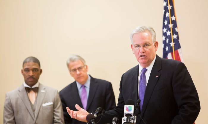 Missouri Governor Jay Nixon at a press conference on Nixon's announcement of formation of a Ferguson Commission in Missouri History Museum in St Louis, MO, on Nov. 18, 2014. (Petr Svab/Epoch Times)