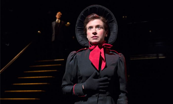 """Hannah Cabell plays Barbara Undershaft, a major in the Salvation Army and ready to help the unfortunates of the world, in George Bernard Shaw's """"Major Barbara."""" (Richard Termine)"""
