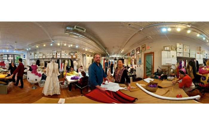 A 360-degree view of the John Kristiansen, New York Inc. a custom costume shop serving the entertainment community. The image, by photographer Stephen Joseph, is 1 of 114 works in a free exhibit at The New York Public Library for the Performing Arts at Lincoln Center. (AP Photo/The New York Public Library for the Performing Arts, Stephen Joseph)