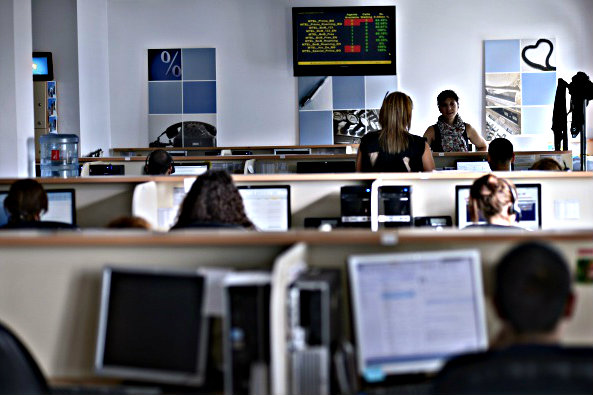 Employees work in a call center in Bulgaria's capital Sofia on August 8, 2014. (Nikolay Doychinov /AFP/Getty Images)