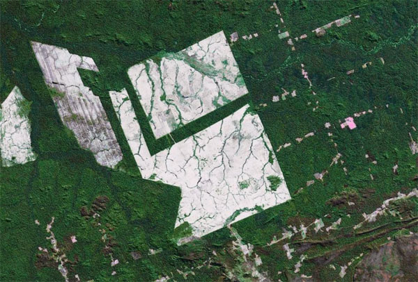 NASA image showing large-scale deforestation in the Brazilian Amazon