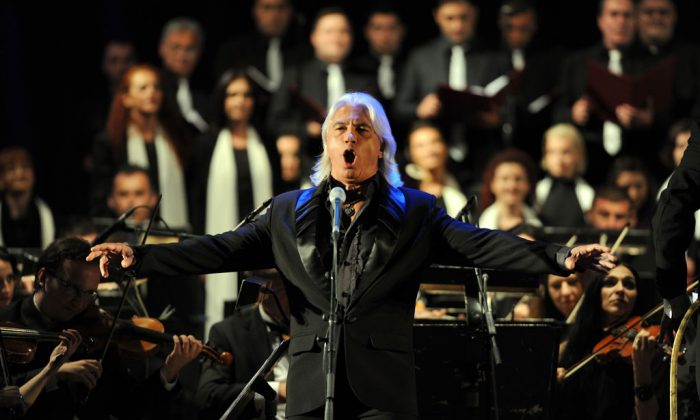Russian baritone Dmitri Hvorostovsky performs in the Ohrid Antic theatre during the opening of the Ohrid Summer Festival in Ohrid late on July 12, 2013. (Robert Atanasovski/AFP/Getty Images)