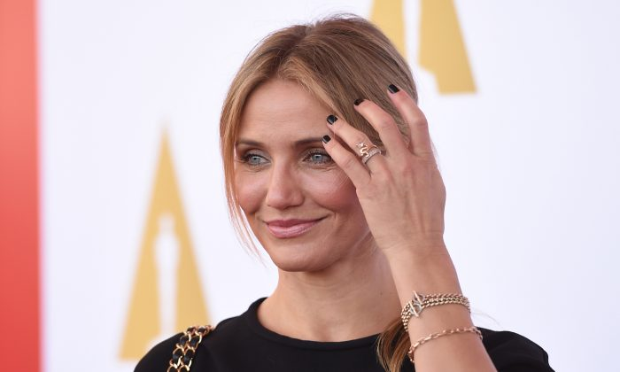 Actress Cameron Diaz arrives for a luncheon in celebration of the Hollywood Costume exhibition, at the Wilshire May Company Building in Los Angeles on October 8, 2014. (ROBYN BECK/AFP/Getty Images)