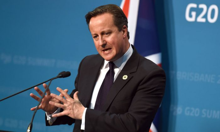 Britain's Prime Minister David Cameron speaks during a press conference on the final day of the G20 Leaders' Summit in Brisbane on Nov. 16, 2014. (William West/AFP/Getty Images)