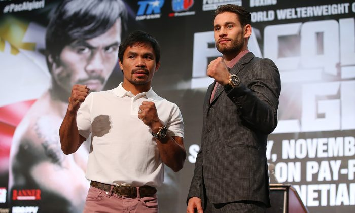 Manny Pacquiao and Chris Algieri pose during a press conference at The Venetian on November 19, 2014 in Macau, Macau. (Photo by Chris Hyde/Getty Images)