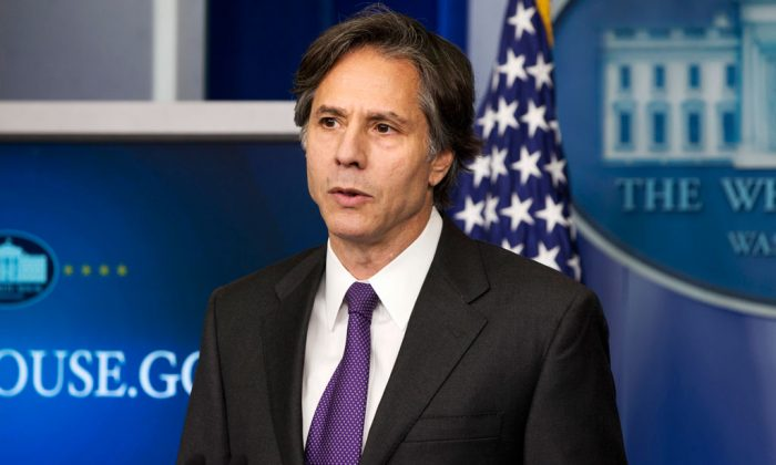 Deputy National Security Adviser Tony Blinken speaks at the White House in Washington on July 28, 2014. The Obama administration is open to limits on the duration of its military efforts in Iraq and Syria and on the potential use of ground forces in a new war authorization against the Islamic State, a top presidential adviser said Wednesday. Blinken, nominated by President Barack Obama to be Secretary of State John Kerry's deputy as the No. 2-ranked US diplomat, was testifying Wednesday at a confirmation hearing before the Senate Foreign Relations Committee. (AP Photo/Jacquelyn Martin)