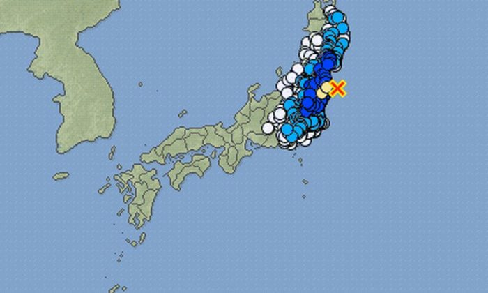 A moderate-strength earthquake struck off the coast of Fukushima Prefecture in Japan on Thursday. (JMA screenshot)