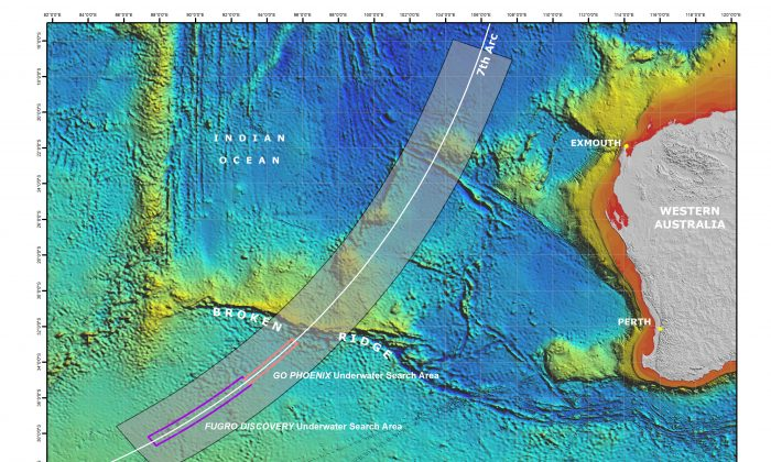 This map shows the Malaysia Airlines Flight MH 370 search area. Over 6,900 square kilometres of the seafloor have been searched so far. (atsb.gov.au)