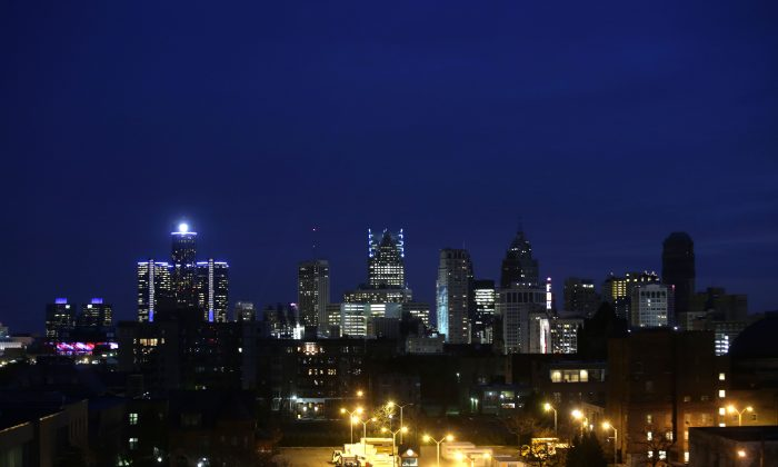 The Detroit skyline is seen on Nov. 7, 2014 in Detroit, Michigan. (Joshua Lott/Getty Images)
