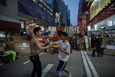 Pro-democracy protesters practise martial art at the Mongkok occupy site on November 20, 2014 in Hong Kong. (Lam Yik Fei/Getty Images)