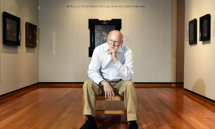 Professor Richard Johnson in a room devoted to the Leiden Collection at the Herbert F. Johnson Museum of Art at Cornell University in Ithaca, N.Y., Thursday, Oct. 2, 2014. (AP Photo/Heather Ainsworth)