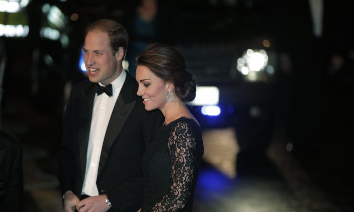 Britain's Prince William and Kate, Duchess of Cambridge arrive to attend the Royal Variety Performance, at the Palladium Theatre, in central London, Thursday, Nov. 13, 2014. (AP Photo/Lefteris Pitarakis)