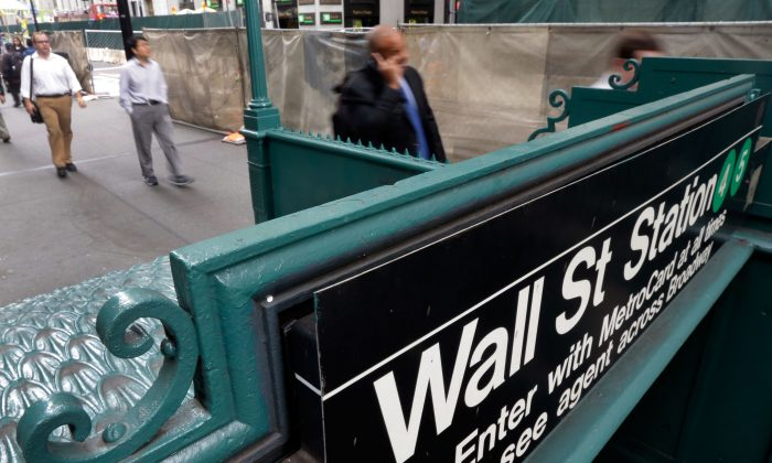 The Wall Street subway stop on Broadway, in New York's Financial District, on Oct. 2, 2014. (AP Photo/Richard Drew)