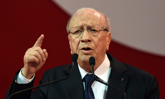 Beji Caid Essebsi, Tunisian leader of the main anti-Islamist party Nidaa Tounes and presidential candidate, gives a speech during a campaign meeting on November 15, 2014 in the capital Tunis. A total of 27 candidates are set to compete for the role of president, with former prime minister Beji Caid Essebsi, 87, widely tipped as one of the frontrunners. (Fethi Belaid/AFP/Getty Images)