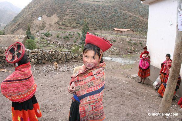 Young girl in a Willoq community in Peru wearing traditional clothing. Photo by Rhett A. Butler.