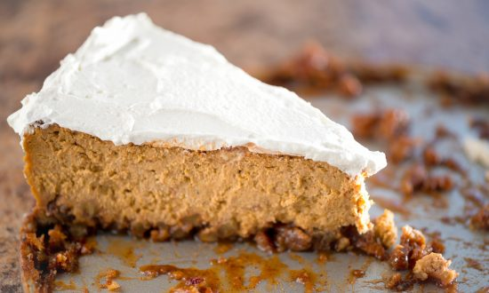 Holiday Pumpkin Spice Cheesecake With Caramelized Pecan Crust