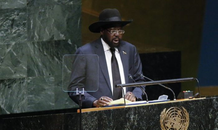 Salva Kiir President of the Republic of South Sudan speaks at the 69th United Nations General Assembly on Sept. 27, 2014, in New York City. (Kena Betancur/Getty Images)