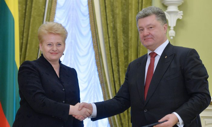 Lithuanian President Dalia Grybauskaite (L) and Ukrainian President Petro Poroshenko (R) shake hands after signing bilateral documents during their meeting in Kiev on Nov. 24, 2014. Grybauskaite promised military assistance for Ukraine as she slammed Russia's alleged 'terrorist' interference in a separatist insurgency in eastern Ukraine. Grybauskaite, one of Ukraine's strongest backers in its bid for closer ties with the West, promised that the Baltic state would use 'all support available' to help Ukraine militarily at a meeting with President Petro Poroshenko in Kiev. (Genya Savilov/AFP/Getty Images)
