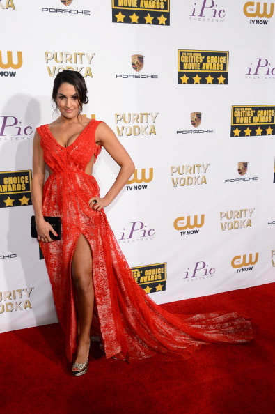 WWE wrestler Nikki Bella attends the 19th Annual Critics' Choice Movie Awards at Barker Hangar on January 16, 2014 in Santa Monica, California.  (Photo by Ethan Miller/Getty Images)