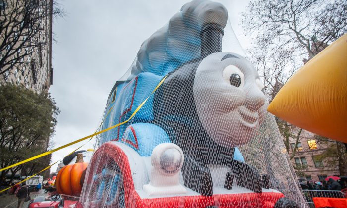 Thomas the Tank balloon of Macy's Thanksgiving Parade after being inflated in the Theodore Roosevelt Park on Upper West Side, Manhattan, NY, on Nov. 26, 2014. (Petr Svab/Epoch Times)