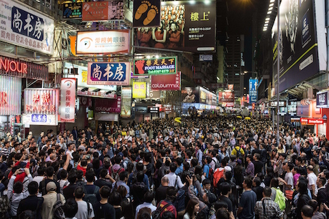 Pro-democracy protesters gather in the Mongkok district of Hong Kong on November 26, 2014. (Anthony Wallace/AFP/Getty Images)