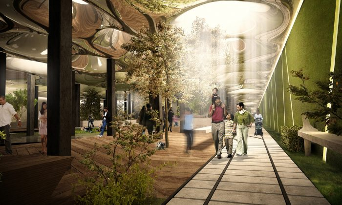 An artist's rendering shows a deep underground park that could be created in a 116-year-old abandoned trolley terminal below the Lower East Side in Manhattan, N.Y. For this project-in-the-works, the latest solar technology will illuminate the subterranean space, filtering the sun via a collector at street level. (AP Photo/The Lowline)