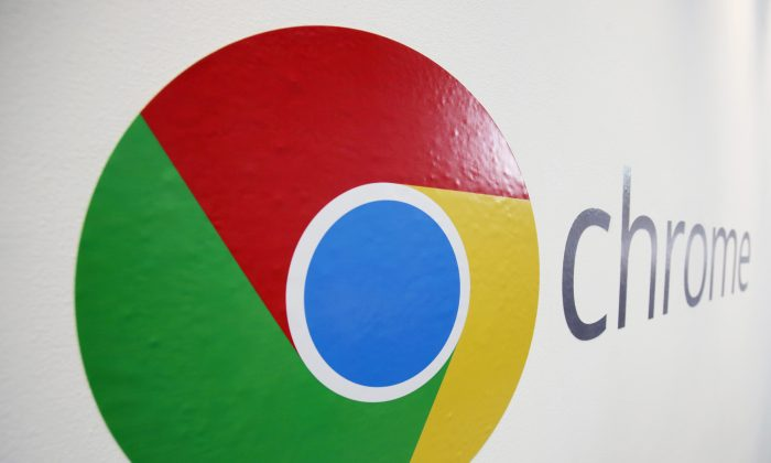 The Chrome logo is displayed at a Google event in New York on Oct. 8, 2013. (Mark Lennihan/ AP Photo)