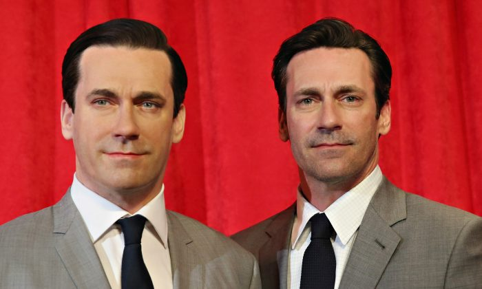 Actor Jon Hamm (R) is now so famous that his well-known character Don Draper has a wax figure (L) at Madame Tussauds in New York. (Cindy Ord/Getty Images for Madame Tussauds)