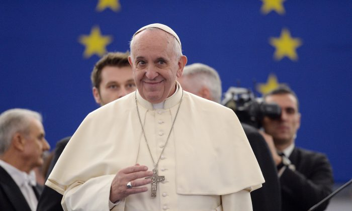 Pope Francis delivers a speech at the European Parliament on Nov. 25, 2014, during a short visit to the European Parliament and the Council of Europe in Strasbourg, France. (Patrick Hertzog/AFP/Getty Images)