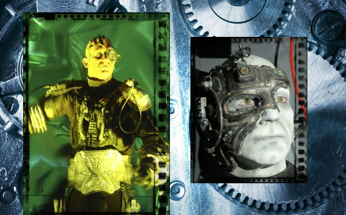 "Left: A concept image of a cyborg. (Camilo Jimenez/iStock/Thinkstock) Right: TV's ""Star Trek"" Captain Jean Luc Picard as a borg drone. (Wikimedia Commons) Background: Mechanical elements. (iStock/Thinkstock)"