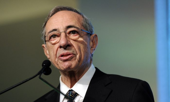 Former New York Gov. Mario Cuomo speaks from the podium at the Game Changers Awards at Skylight Soho in New York on Oct. 18, 2011. Mario Cuomo has died at age 82. (AP Photo/Evan Agostini)