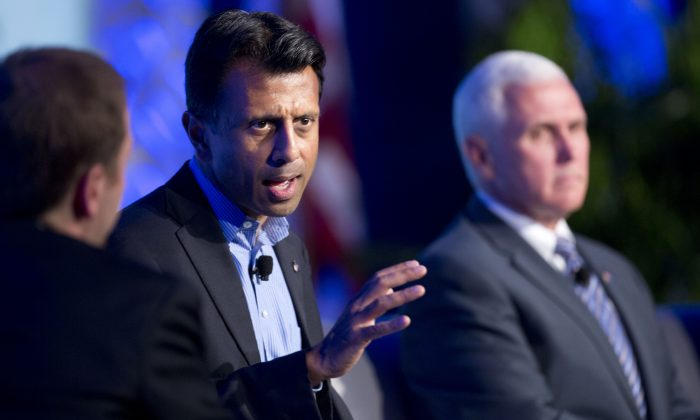 Louisiana Gov. Bobby Jindal as he speaks at the Republican Governors Association annual conference in Boca Raton, Fla., on Nov. 19, 2014. The conference felt like a test run for what is increasingly shaping up as a brutal showdown for the Republican presidential nomination among more than a dozen potential contenders. (AP Photo/J Pat Carter)