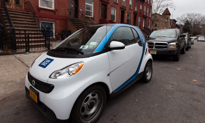 A Car2go Smart Fortwo vehicle parked in Bushwick, Brooklyn, New York, on Nov. 30, 2014. (Petr Svab/Epoch Times)