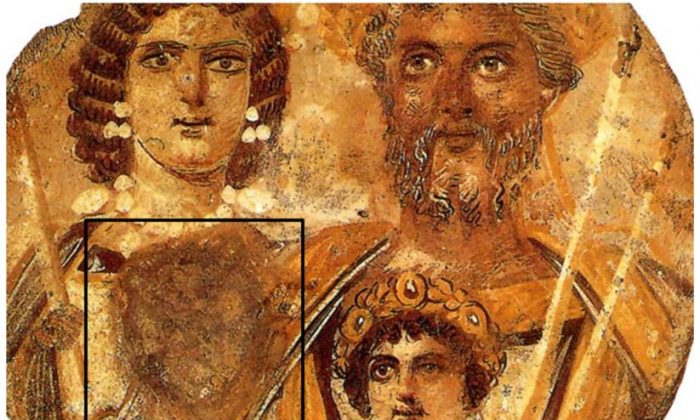 A portrait of the Severan family, with the face of Geta removed due to the damnatio memoriae ordered by Caracalla. (Wikimedia Commons)