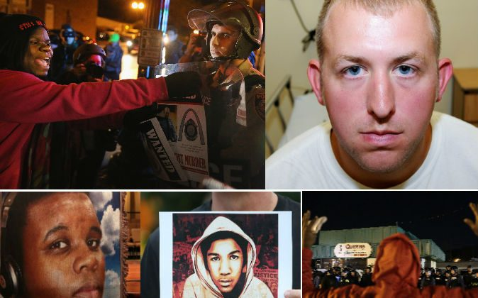 Top left: Ferguson protesters on Nov. 29, 2014. (Scott Olson/Getty Images) Top right: Ferguson officer Darren Wilson. (AP Photo/St. Louis County Prosecuting Attorney's Office) Bottom left: A photo of Michael Brown. (Robert Cohen-Pool/Getty Images) Bottom center:  A photo of Trayvon Martin. (Mario Tama/Getty Images) Bottom right: A demonstrator in Ferguson on Nov. 29, 2014. (Joshua Lott/Getty Images)
