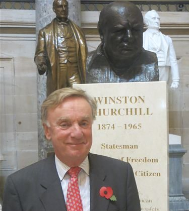 Sir Richard Ottoway in front of the bust of Winston Churchill at the U.S. Capitol, Washington, in an undated photograph. Ottoway was recently told by a Chinese diplomat that he would not be allowed into Hong Kong if he attempted to enter the region. (Courtesy of the office of Sir Richard Ottoway MP)