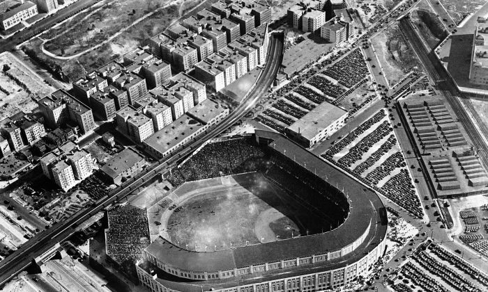 An aerial view of the Yankee Stadium in New York in 1937. (AP Photo)