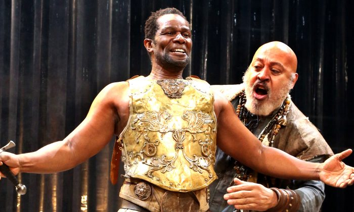 "(L) John Douglas Thompson in a brilliant portrayal as Tamburlaine, a ruthless warrior king, and Keith Randolph Smith as one of his supporters, Techelles, in Christopher Marlowe's ""Tamburlaine, Parts I and II."" (Gerry Goodstein)"