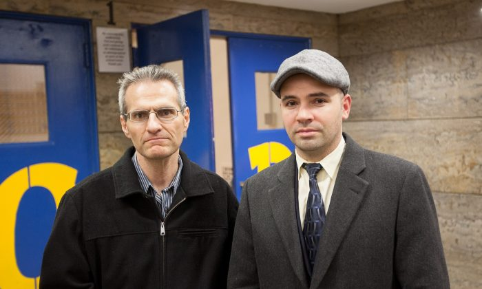 Absent Teacher Reserve teachers James Eterno (L) and Francesco Portelos after a Panel for Educational Policy meeting at High School of Fashion Industries, in Manhattan, N.Y., on Nov. 25, 2014. (Petr Svab/Epoch Times)